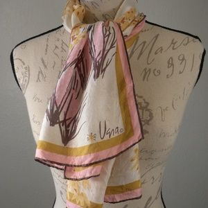 Vera Neumann  Scarf Vintage Floral Pink White 80's
